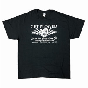 white-on-black get plowed logo tee