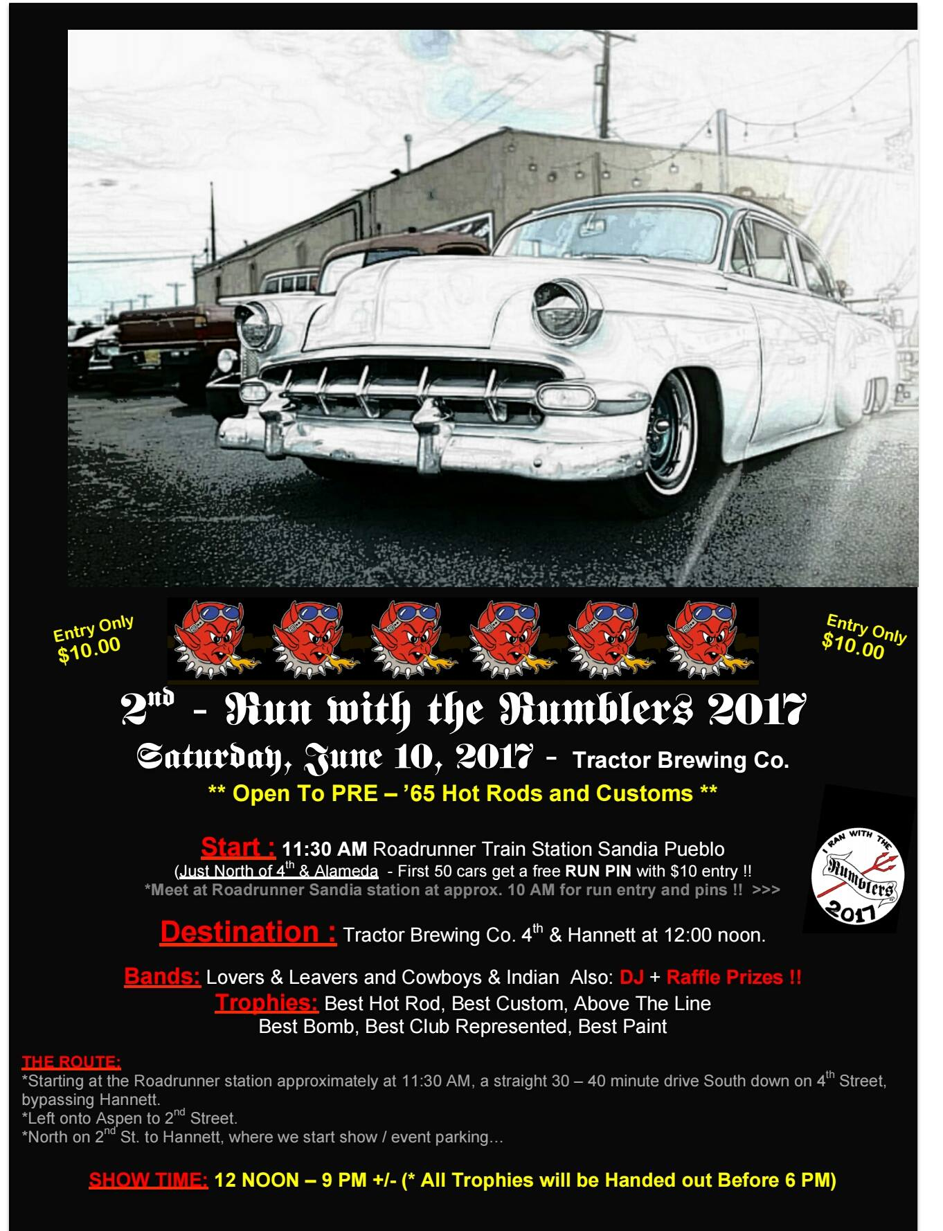Nd Annual Run With The Rumblers Car Show Tractor Brewing Company - Pueblo car show
