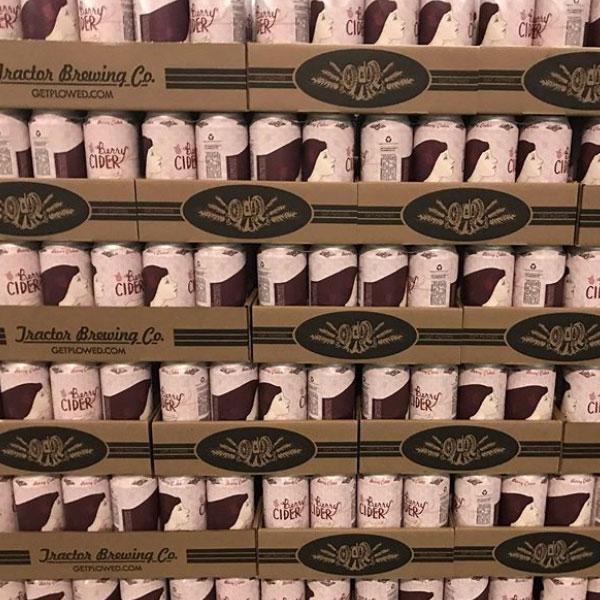Cases of Blood Orange Cider cans
