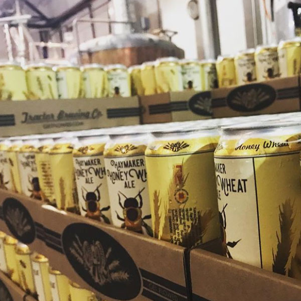 Cases of Haymaker Honey Wheat cans