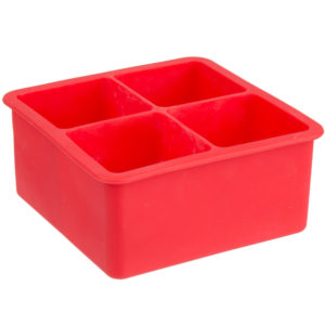 Red Silicon Ice Tray For Large 2 inch cubes